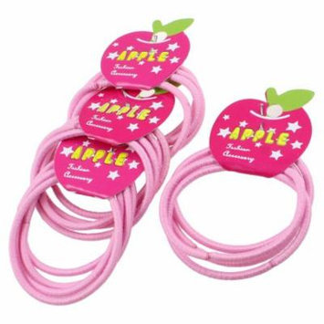 16 Pcs Elastic Pink Ellipse Bead Ponytail Holder Hair Bands