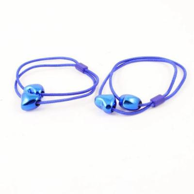 2PCS Heart Faux Beads Decorated Stretch Hair Tie Ponytail Holders Blue
