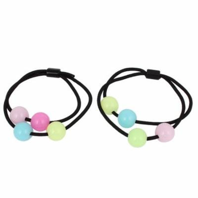 2Pcs Multi-colors Round Beads Accent Stretch Rope Hair Band Ponytail Holder