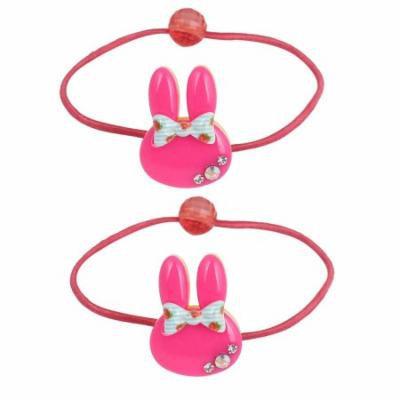 2 Pcs Rabbit Ear Bead Bowknot Rhinestone Decor Elastic Ponytail Holder Magenta