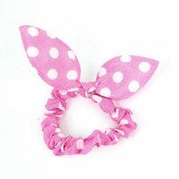 Women Bowtie Detailing Elastic Band Hair Tie Ponytail Holder Pink White
