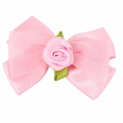 Pink Nylon Organza Bowknot Flower Leaf Decor Alligator Hair Clip for Lady