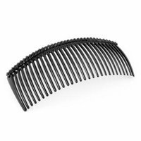 Black Faux Crystal Accent Comb Shape 29 Tooth Hair Clip Clamp for Girls