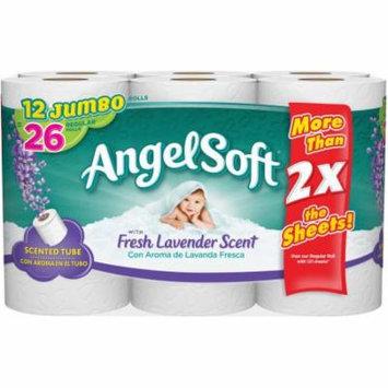 Angel Soft Toilet Paper with Fresh Lavender Scent, 12 Jumbo Rolls, Bath Tissue
