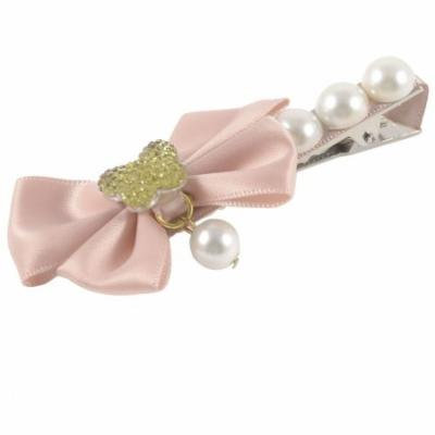 Light Pink Ribbon Ornament Faux Pearl Metal Alligator Hair Clip