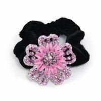Rhinestone Purple Flower Velvet Hair Tie Band Ponytail Braid Holder Black