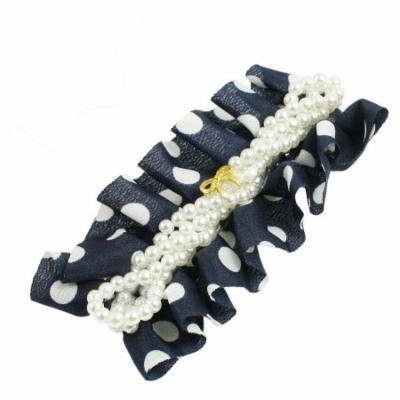 Women White Blue Chiffon Hairstyle Ornament Metal Alligator Hair Clip