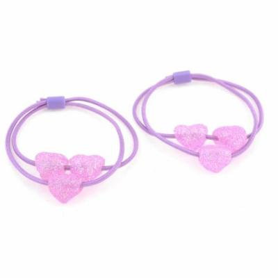 Pair Blink Heart Beads Elastic Hair Tie Ponytail Holder Light Purple
