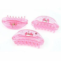 3Pcs Fuchsia Plastic Hair Claw Clip Hairclip Hairpin Hairdressing Tool