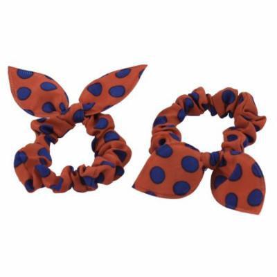 Blue Orange Dots Pattern Rabbit Ear Style Stretchy Hair Ties Bands Ponytail Holder 2 Pcs