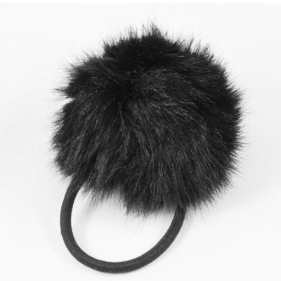 Plush Ball Decor Black Hair Tie Ponytail Holder for Woman