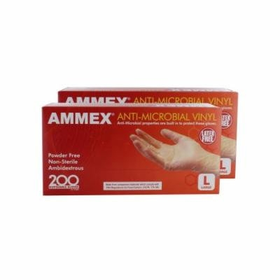 Ammex AAMV46100 2 Pack Anti-Microbial Vinyl Glove Latex Free Powder Free Large