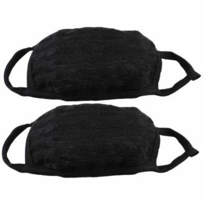 Stretched Strap Washable Knitting Black Earloop Face Mouth Mask Protector 2 Pcs