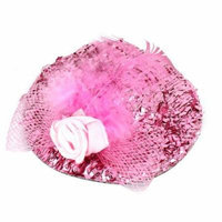 Party Pink Flower Bowknot Accent Tinsel Covered Top Hat Alligator Hair Clip