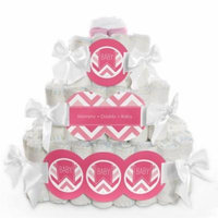 Baby Diaper Cake - Chevron Pink - 3 Tier