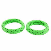 Green Nylon String Coated Elastic Hair Ties Bands Ponytail Holder 2 Pcs