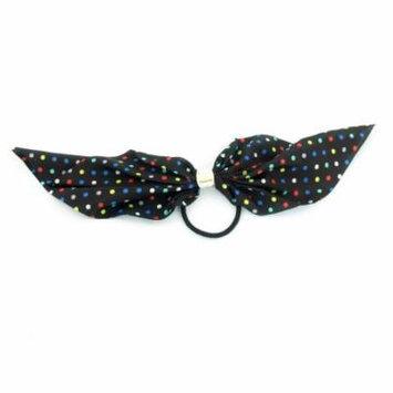 Women Bubble Pattern Bowtie Chiffon Accent Hair Tie Rubber Band Black