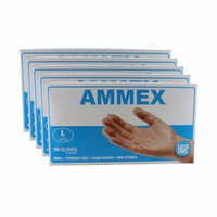 Ammex VPF66100 5 Pack Vinyl Glove Medical Latex Free Powder Free Large