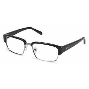 Cynthia Rowley No. 68 Black Wood Rectangle Metal Eyeglasses