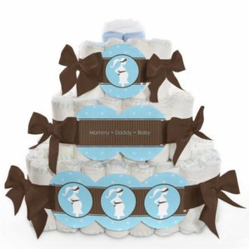 Baby Diaper Cake - Mommy Silhouette It's a Boy - 3 Tier