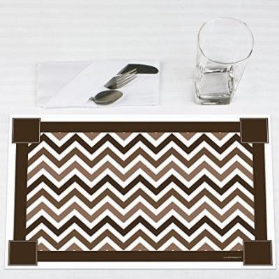 Chevron Brown - Party Placemats - Set of 12