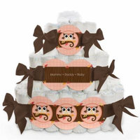Baby Diaper Cake - Owl Girl - 3 Tier