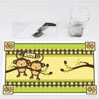 Twins Monkey Neutral - Party Placemats - Set of 12