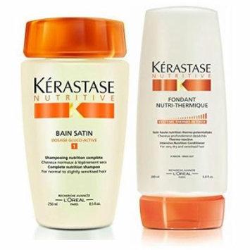 Kerastase Bain Satin 1 8.5 Oz & Fondant Nutri-Thermique 6.7 Oz (Shampoo & Conditioner) Duo