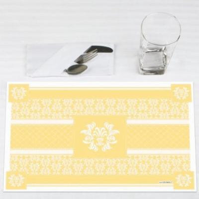 Damask Yellow - Party Placemats - Set of 12