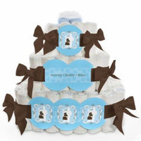 Baby Diaper Cake - Silhouette Couples It's A Boy - 3 Tier