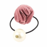 Women Faux Pearl Flower Decor Elastic Hair Rope Band Ponytail Holder Pink White