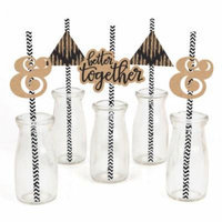 Better Together - Wedding Straw Decor with Paper Straws - Set of 24