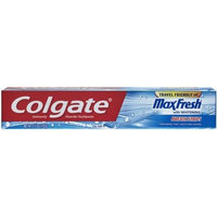 Colgate MaxFresh with Whitening Breath Strips Cool Mint Anticavity Fluoride Toothpaste, 2.5 oz
