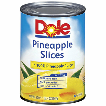 Dole Canned Fruit: Slices In 100% Pineapple Juice Pineapple