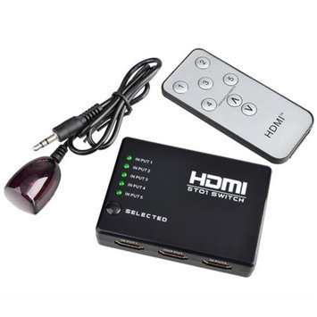 Insten INSTEN 5 PORT HDMI Switch Selector Switcher Splitter Hub & IR Remote 1080p For HDTV PS3 Xbox 360 DVD BluRay