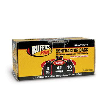 Berry Plastics 618889 Ruffies 42 Gallon Black Contractor Clean-U, 10 Count