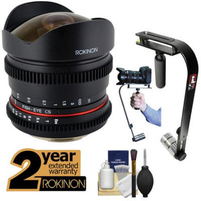 Rokinon 8mm T/3.8 Cine Fisheye Lens with 2 Year Ext. Warranty + Steadycam Kit for Nikon D3200, D3300, D5200, D5300, D7100, D610, D800, D4s Cameras