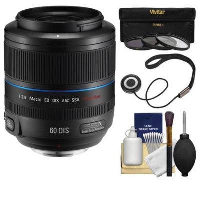 Samsung 60mm f/2.8 NX Macro ED OIS SSA Lens (Black) with 3 UV/CPL/ND8 Filters + Kit for Galaxy NX, NX30, NX210, NX300, NX2000, NX3000 Cameras