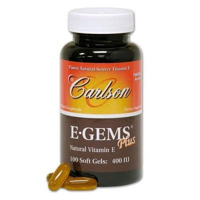 Carlson Labs E-Gems Plus Natural Vitamin E, 400 IU, 100 Softgels