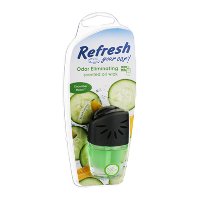 Refresh Your Car! Odor Eliminating Scented Oil Wick Cucumber Melon