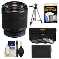 Sony Alpha E-Mount FE 28-70mm f/3.5-5.6 OSS Zoom Lens with NP-FW50 Battery + Tripod + 3 UV/ND8/CPL Filters Kit for A7, A7R, A7S Digital Camera