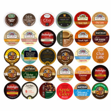 Mix Coffee, Hot Cocoa and Tea Single Serve cups For Keurig K Cup Brewer Variety Pack Sampler, 30 count