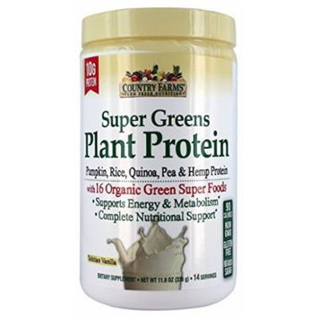 Country Farms Super Greens Plant Protein Supplement, Vanilla, 11.8 Ounce