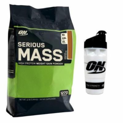 Optimum Nutrition Serious Mass Chocolate Peanut Butter Powder 12 lbs + Shaker