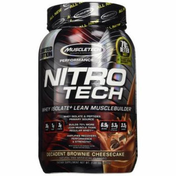 MuscleTech NitroTech Protein Powder, Whey Isolate + Lean MuscleBuilder, Decadent Brownie Cheesecake, 2 lbs (907g)