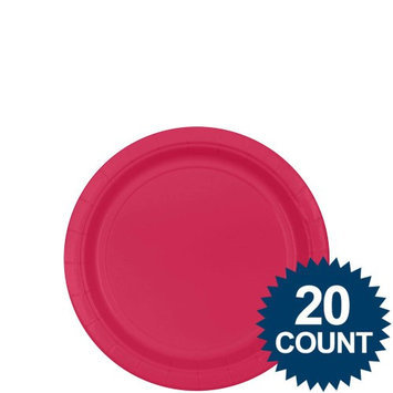 Bright Pink 7 Paper Plates 24ct