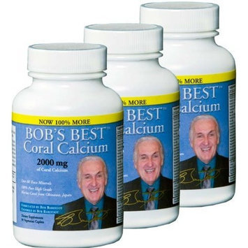 Bob Barefoot's Bob's Best Coral Calcium 2000mg, 3 PACK of 90 Caplets NEW IMPROVED FORMULATION!