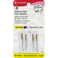 Singer Ball Point Machine Needles, Size 16/100, 4pk