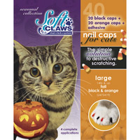 Soft Claws Seasonal Halloween Orange & Black Cat Nail Caps, Large (Pack of 40 caps; For Cats Over 14 lbs.)