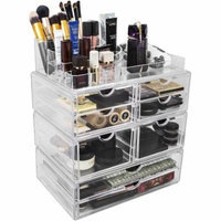 Set of Acrylic Drawers with Sectional Organizer, X-Large, Total 8 Drawers with Round Sectional